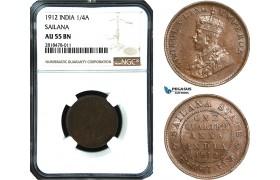 AB480, India, Sailana, George V, 1/4 Anna 1912, NGC AU55BN