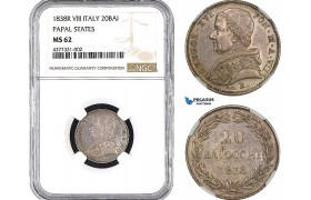 AB485, Italy, Papal, Gregory XVI, 20 Baiocchi 1838 VIII-B, Bologna, Silver, NGC MS62, Pop 1/0