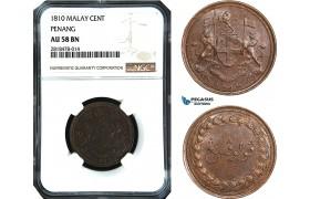 AB487, Malay Peninsula, Penang, 1 Cent 1810, NGC AU58BN