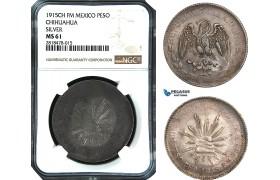 AB488, Mexico, Revolutionary, Chihuahua, Peso 1915 Ch FM, Silver, NGC MS61