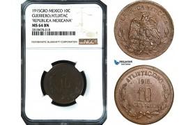 AB491, Mexico, Revolutionary, Guerrero/Atlixtac, 10 Centavos 1915-GRO, NGC MS64BN, Pop 7/0