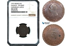 AB495, Mexico, Revolutionary, Oaxaca, 5 Centavos 1915, NGC MS62BN, Pop 1/0
