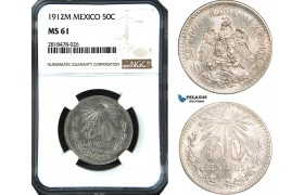AB499, Mexico, 50 Centavos 1912-M, Mexico City, Silver, NGC MS61