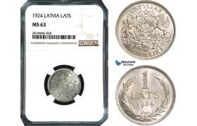 AB502, Latvia, 1 Lats 1924, Silver, NGC MS63