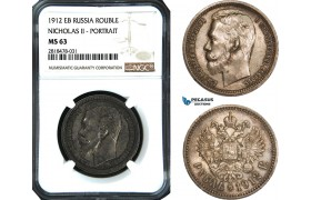 AB520, Russia, Nicholas II, Rouble 1912, St. Petersburg, Silver, NGC MS63