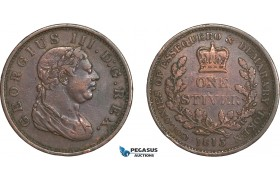 AB523, Essequebo & Demarary, George III, 1 Stiver 1813, aVF, small edge bump