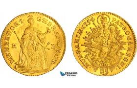 AB525, Hungary, Maria Theresia, Ducat 1754 K-B, Kremnitz, Gold (3.50g) Lustrous Ch UNC (Few hairlines)