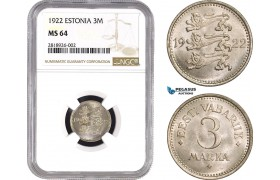 AB530, Estonia, 3 Mark 1922, NGC MS64