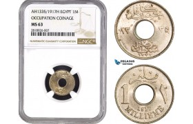 AB535, Egypt (Occupation Coinage) 1 Millieme 1917-H, Heaton, NGC MS63