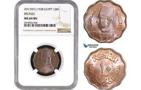 AB536, Egypt, Farouk, 10 Milliemes AH1357/1938, NGC MS64BN