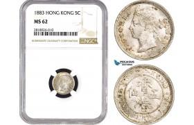 AB538, Hong Kong, Victoria, 5 Cents 1883, London, Silver, NGC MS62