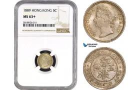 AB539, Hong Kong, Victoria, 5 Cents 1889, London, Silver, NGC MS63+