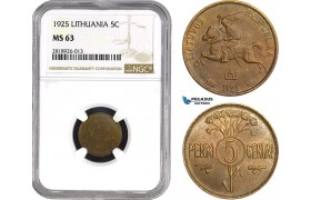 AB541, Lithuania, 5 Centai 1925, NGC MS63