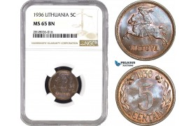 AB544, Lithuania, 5 Centai 1936, NGC MS65BN