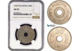 AB549, Palestine, 20 Mils 1934, London, NGC AU55