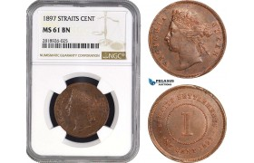 AB554, Straits Settlements, Victoria, 1 Cent 1897, NGC MS61BN