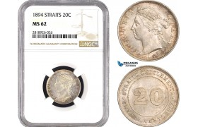 AB555, Straits Settlements, Victoria, 20 Cents 1894, Silver, NGC MS62