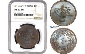 AB557, Ottoman Empire (Turkey) Abdülmecid, 40 Para AH1255/19, NGC MS62BN, Pop 1/0