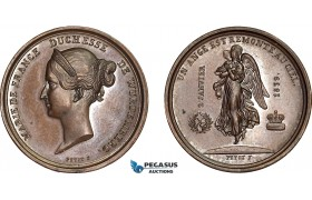 AB577, France & Germany, Bronze Medal 1839 (Ø24.5, 8.0g) by Petit, Death of Maria, Duchess of Wurttemberg