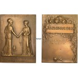 AB578, France & Greece, Bronze Plaque Medal 1857 (69x50mm, 108g) by Prud'homme, Minerva, Owl