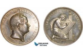 AB583, Germany, Prussia, Wilhelm IV, Silver Medal (Ø33mm, 21.9g) ND by Goetze, Arts Academy, Owl
