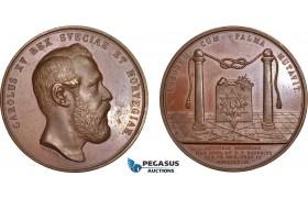 AB587, Sweden, Oscar II, Bronze Medal 1872 (Ø56mm, 66.1g) by Ahlborn, Masonic Lodge