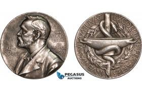 AB592, Sweden, Silver Medal ND (Ø27, 11.9g) Alfred Nobel, Swedish Medical Society, Edge filling!