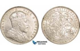 AB604, Straits Settlements, Edward VII, Dollar 1908-B, Bombay, Silver, Lustrous AU (Some marks)