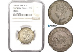 AB612, East Africa, George VI, 1 Shilling 1941-I, Bombay, Silver, NGC MS62