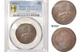 AB615, German New Guinea, 10 Pfennig 1894-A, Berlin, PCGS MS64BN