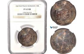 AB621, Romania, Carol I, 10 Bani 1867 Watt&Co, Birmingham, NGC PF63BN, Rare!