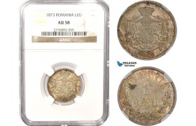 AB623, Romania, Carol I, 1 Leu 1873, Brussels, Silver, NGC AU58