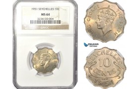 AB627, Seychelles, George VI, 10 Cents 1951, NGC MS64