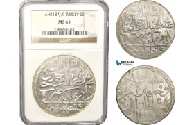 AB635, Ottoman Empire, Turkey, Abdülhamid I, 2 Zolota AH1187/9, Islambul (Istanbul) NGC MS63