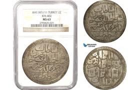 AB636, Ottoman Empire, Turkey, Abdülhamid I, 2 Zolota AH1187/11, Islambul (Istanbul) NGC MS63