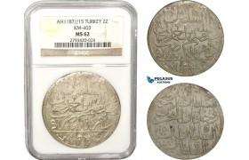 AB638, Ottoman Empire, Turkey, Abdülhamid I, 2 Zolota AH1187/15, Islambul (Istanbul) NGC MS62