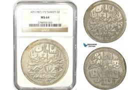 AB639, Ottoman Empire, Turkey, Abdülhamid I, 2 Zolota AH1187/15, Islambul (Istanbul) NGC MS64, Pop 1/0, Rare Grade!