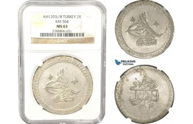 AB642, Ottoman Empire, Turkey, Selim III, 2 Kurus AH1203/8, Islambul (Instanbul) NGC MS63