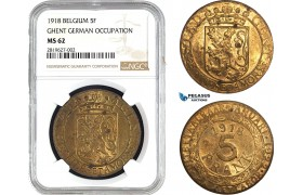 AB651, Belgium, Ghent (German Occupation) 5 Francs 1918, NGC MS62