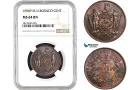 AB656, British North Borneo, 1 Cent 1890-H, Heaton, NGC MS64BN