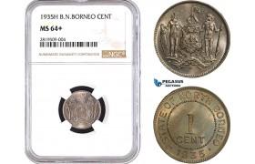 AB657, British North Borneo, 1 Cent 1935-H, Heaton, NGC MS64+