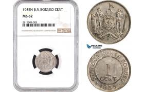 AB658, British North Borneo, 1 Cent 1935-H, Heaton, NGC MS62