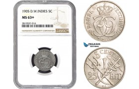 AB670-R, Danish West Indies, Christian IX, 5 Cents / 25 Bit 1905, Copenhagen, NGC MS63+