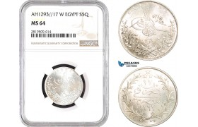 AB674, Ottoman Empire, Egypt, Abdulhamid, 5 Piastres AH1293/17-W, Berlin, Silver, NGC MS64