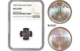 AB676-R, Finland (under Russia) Alexander III, 1 Penni 1893, NGC MS66, Pop 4/0