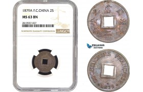 AB684-R, French Cochine-China, 2 Sapeque 1879-A, Paris, NGC MS63BN