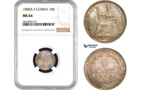 AB687, French Indo-China, 10 Centimes 1900-A, Paris, Silver, NGC MS64