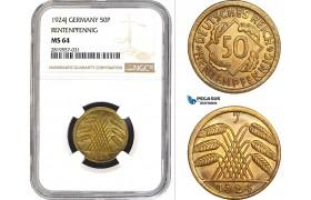 AB689-R, Germany, Weimar, 50 Rentenpfennig 1924-J, Hamburg, NGC MS64