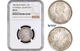 AB699, India (British) Victoria, 1/2 Rupee 1862 (B&M) Silver, NGC MS63