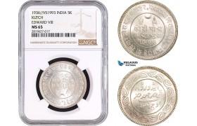 AB701, India, Kutch, Edward VIII, 5 Kori 1936 / VS1993, Silver, NGC MS65